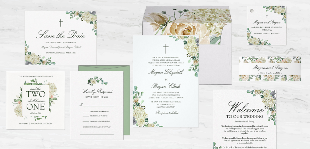 The Megan Christian wedding invitation collection with botanical greenery and white roses.