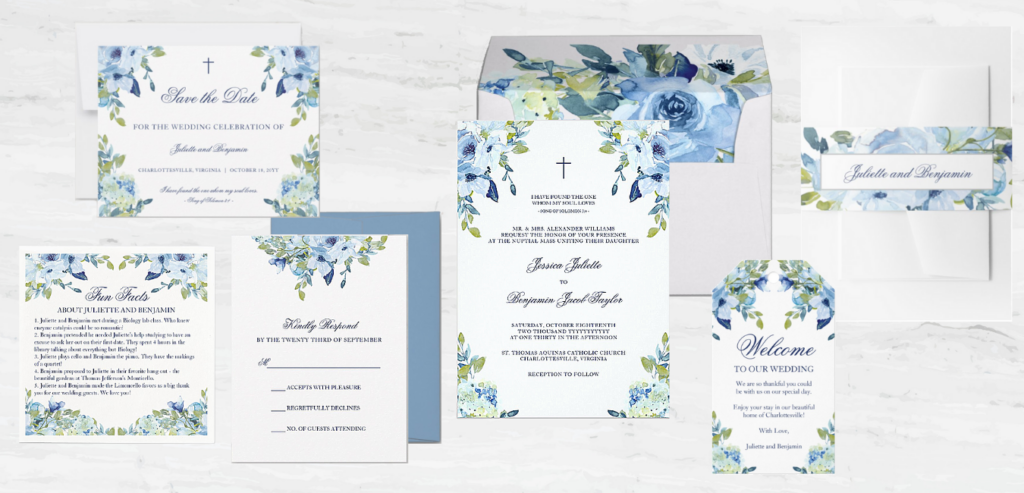 The Juliette Christian wedding invitation collection combines a chic, dusty blue and navy blue color palette with calligraphy script, beautiful watercolor flowers and meaningful Biblical scripture